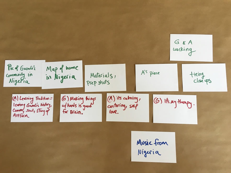 Index cards lying on a table showing aspects of a story.